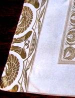 vintage antique tablecloth figural damask art deco egyptian