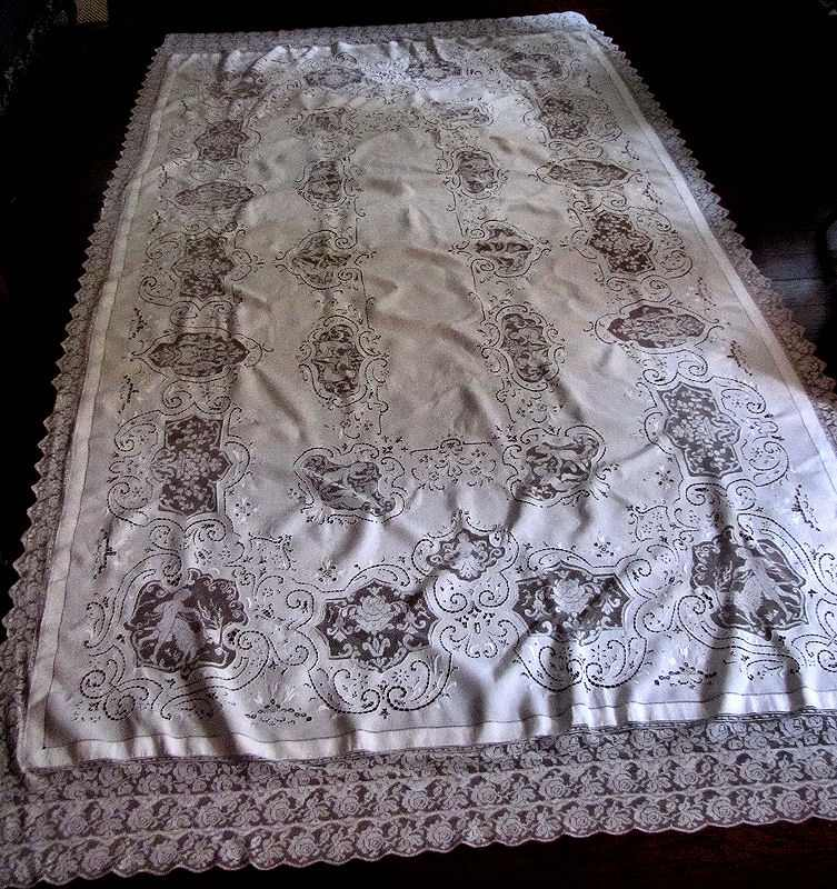 vintage banquet tablecloth handmade figural lace and embroidery