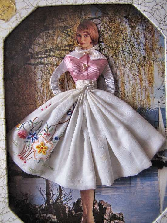 close up 1 vintage hankies box girl with hanky skirt
