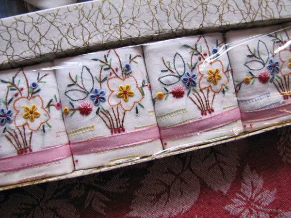 close up 2 vintage hankies box girl with hanky skirt