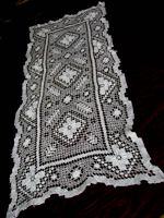 vintage handmade needle lace table runner dresser scarf