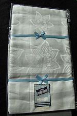 vintage white linen tablecloth and 8 napkins set