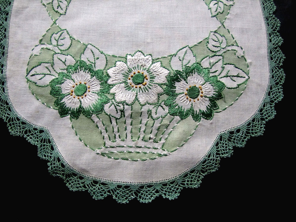 close up vintage antique arts and crafts table runner
