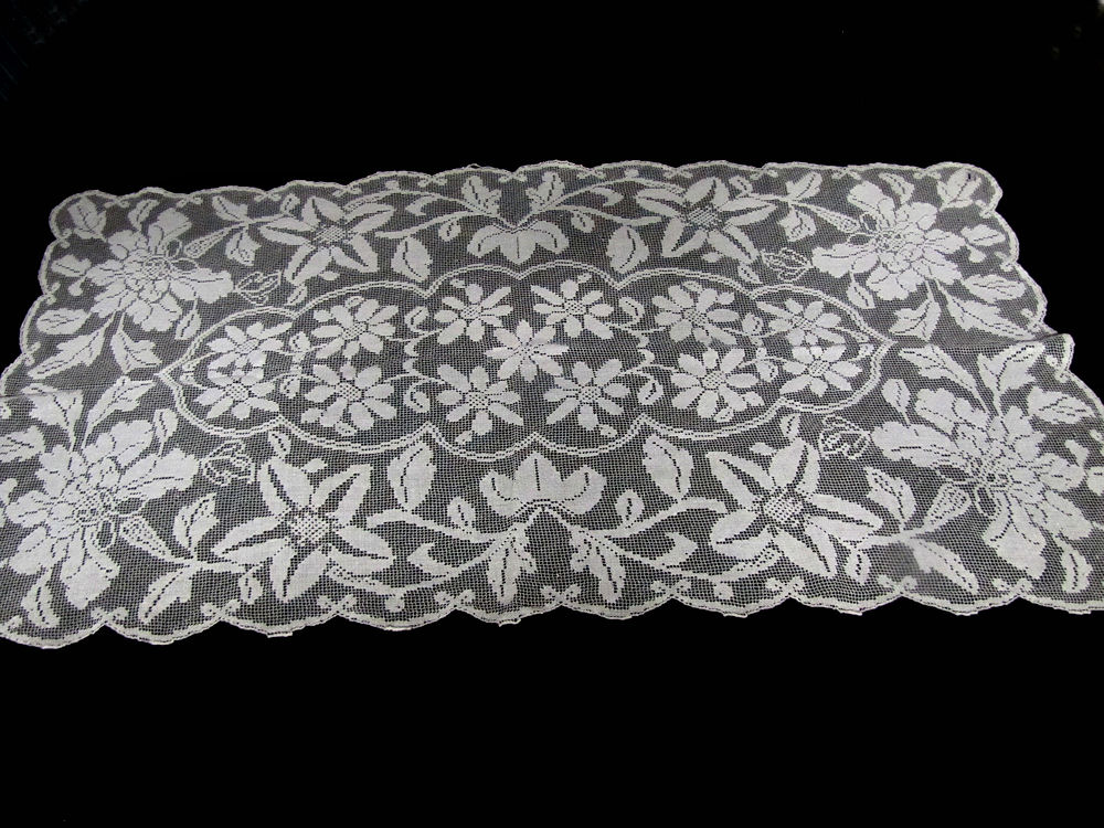 vintage antique table runner handmade lace