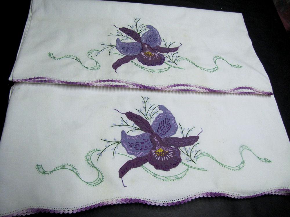 vintage antique pair handmade pillowcases purple orchid