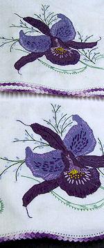 pair vintage handmade pillowcases purple orchid