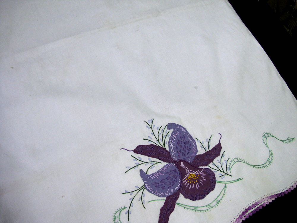 close up vintage antique pair handmade pillowcases purple orchid