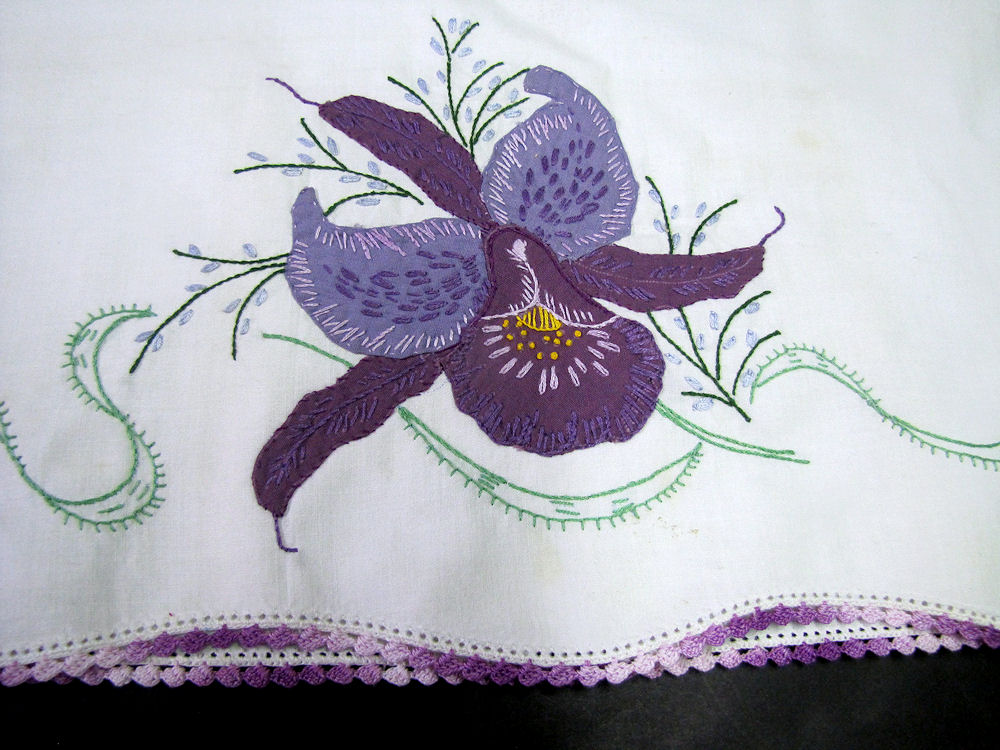 close up 2 vintage antique pair handmade pillowcases purple orchid
