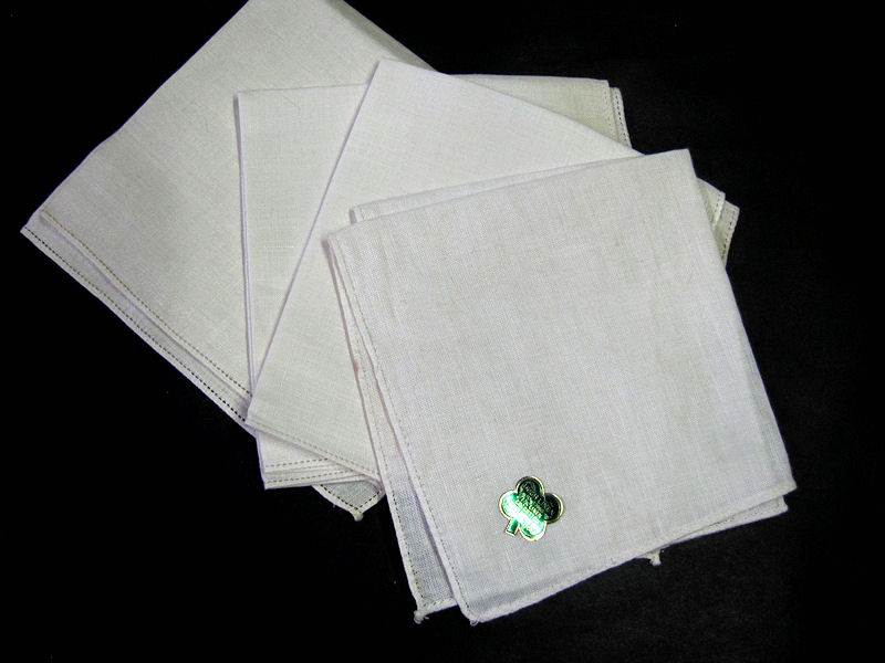 vintage antique irish linen hanky blanks for  handmade lace
