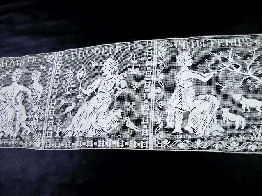 5 vintage antique table runner figural lace