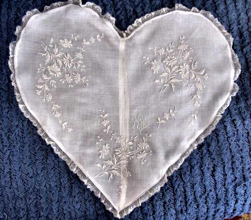 vintage antique handmade heart-shaped whitework pillow cover