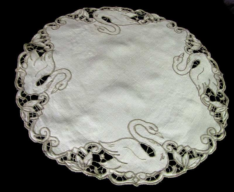vintage antique handmade figural lace table topper