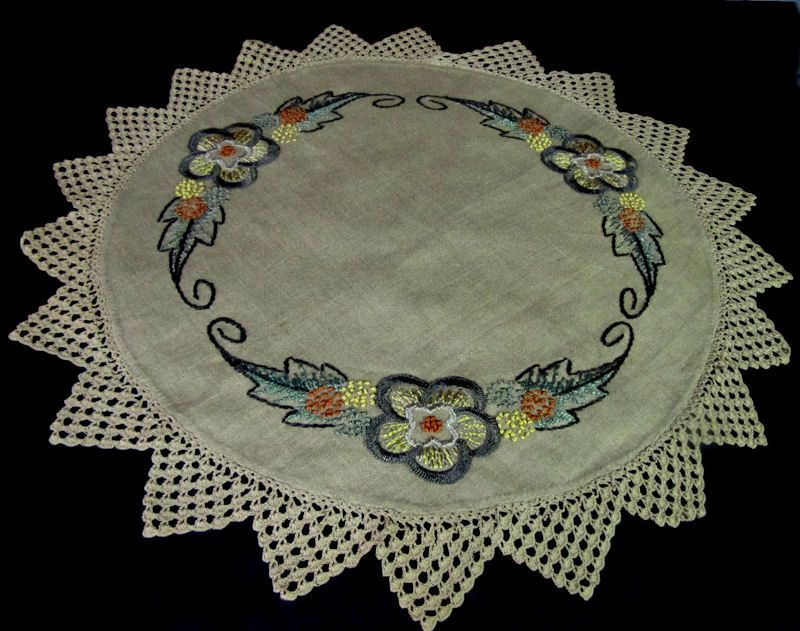 vintage antique linen table topper with handmade lace and silk embroidery