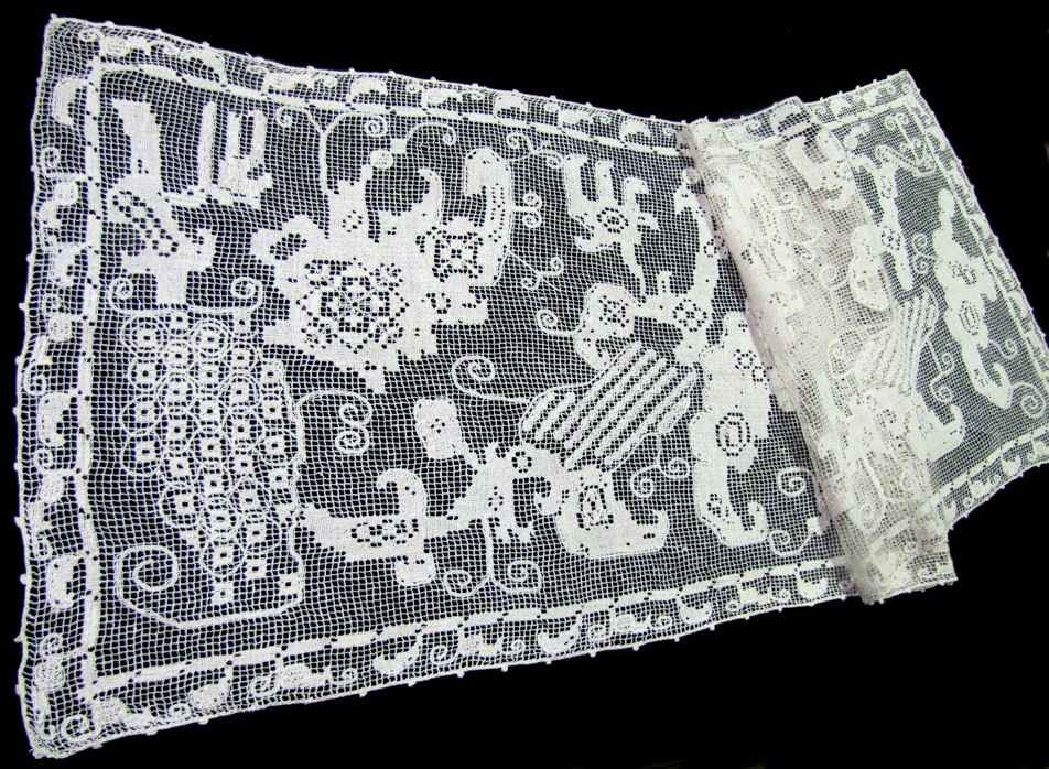 vintage antique table runner handmade figural lace