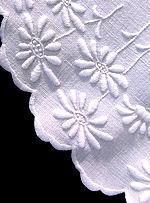 vintage white linen centerpiece doily hand embroidered daisies