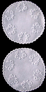 vintage pair white linen doilies hand embroidered daisies