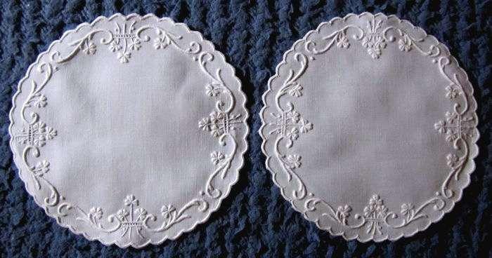 pair vintage doilies white linen handmade whitework Irish shamrocks