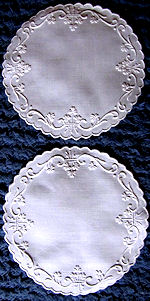pair handmade white linen doilies whitework Irish shamrocks