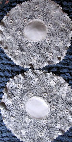 vintage pair handmade Irish lace doilies
