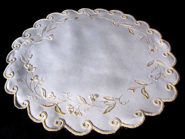 vintage antique society silk embroidered linen doily