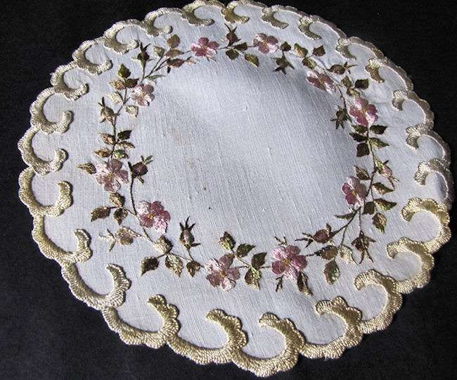 vintage antique white linen doily with society silk embroidery