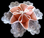 vintage peach scones server battenberg lace