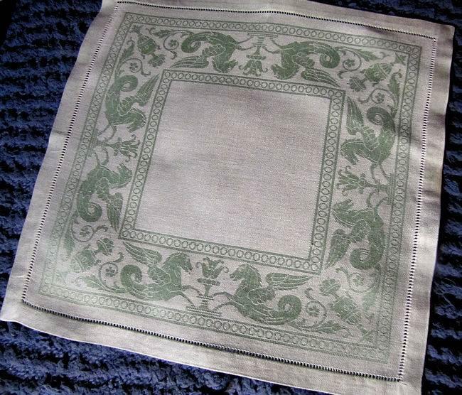 vintage figural damask green linen napkins