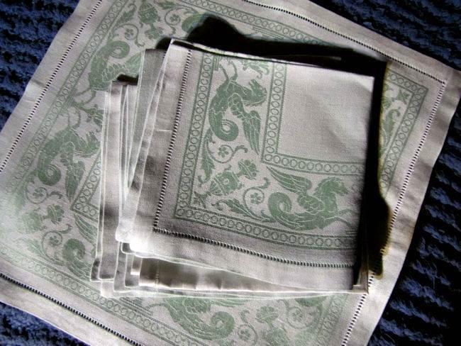 close up vintage figural damask green linen napkins