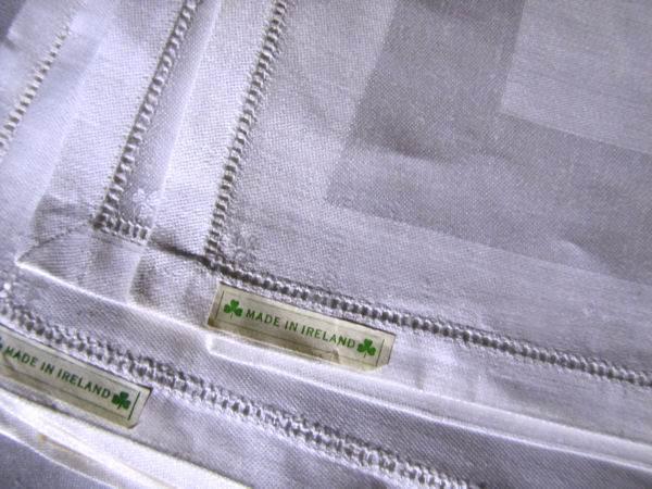close up 2 vintage white Irish linen napkins satin band damask