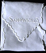 vintage white linen roll cover embroidered sandwiches