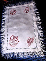 vintage table runner dresser scarf redwork fringe