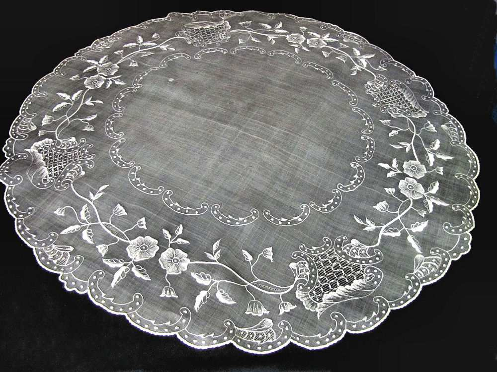 vintage antique table topper sheer organdy hand embroidery