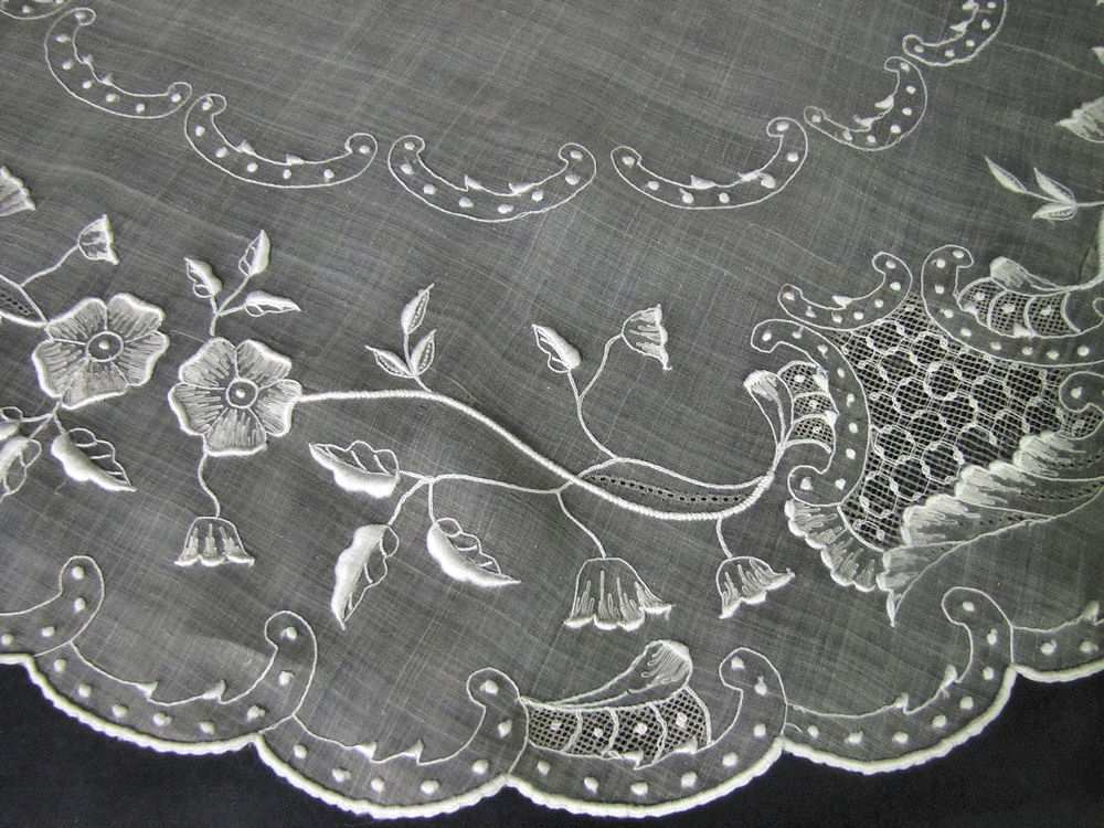 close up 2 vintage antique table topper sheer organdy hand embroidery