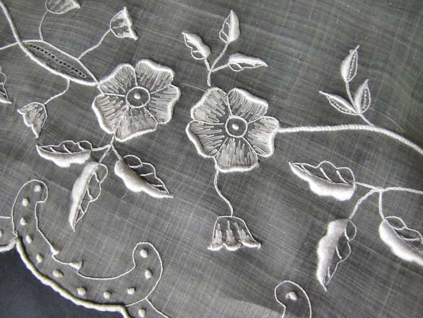 close up 3 vintage antique table topper sheer organdy hand embroidery