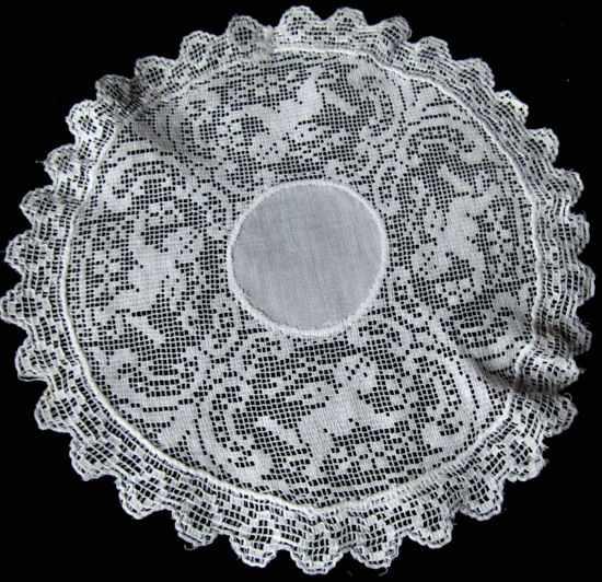 vintage antique figural lace doily