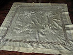 vintage antique silk table topper handmade lace