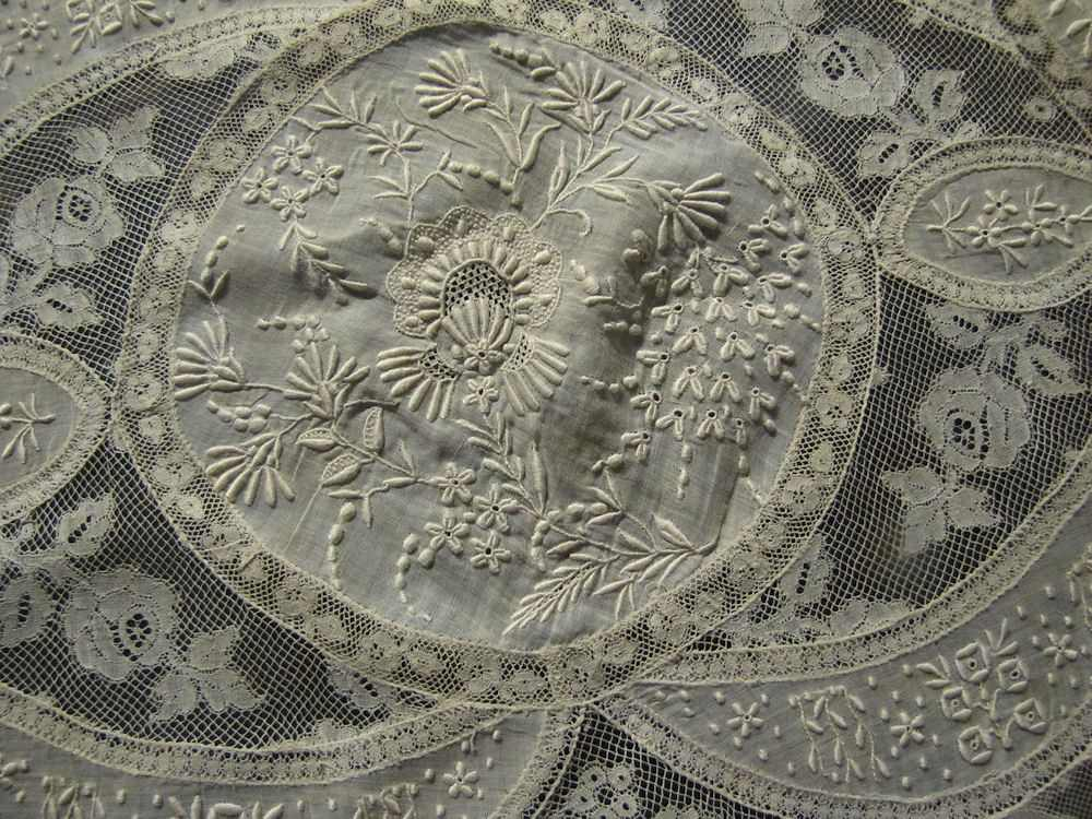 close vintage antique table runner normandy lace and whitework