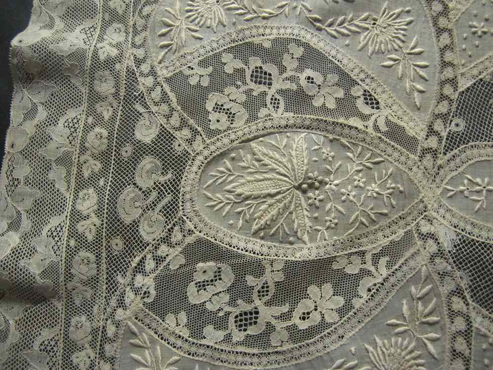 close up 3 vintage antique table runner normandy lace and whitework