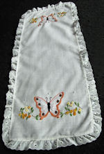 vintage table runner dresser scarf linen embroidered butterflies