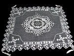 antique net lace table topper with tassels