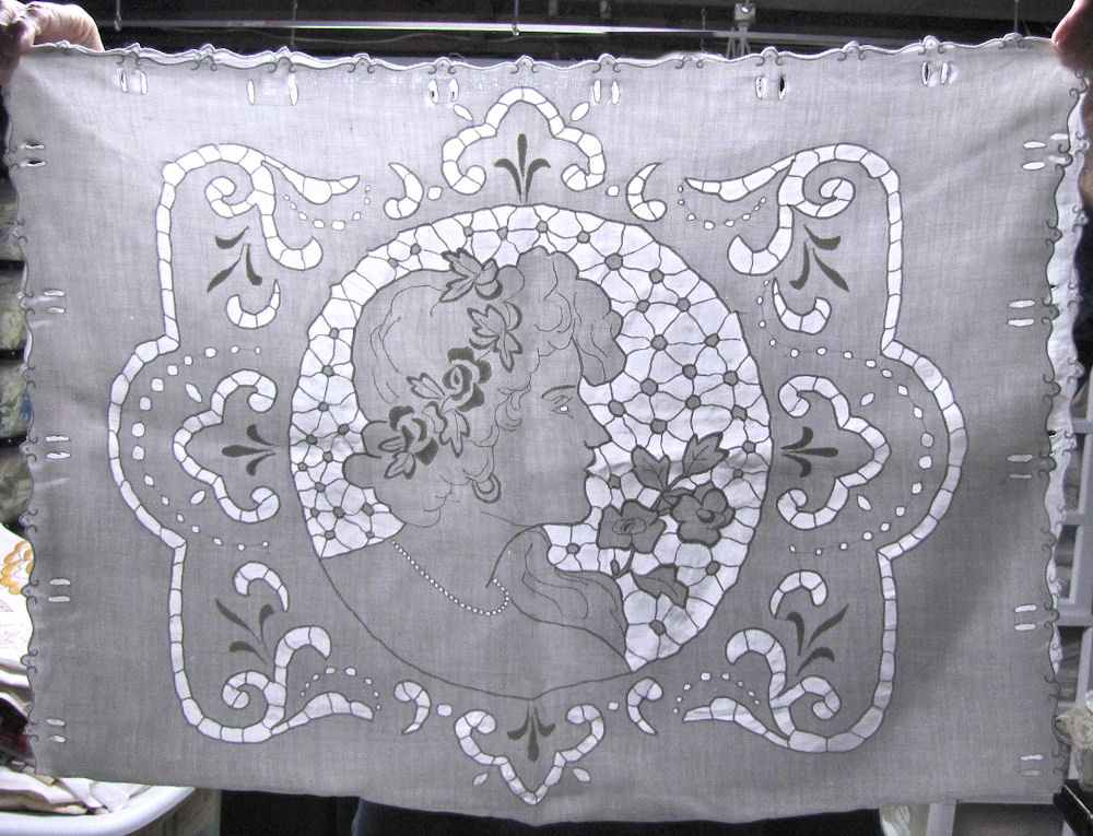 vintage antique pillow cover handmade figural lace