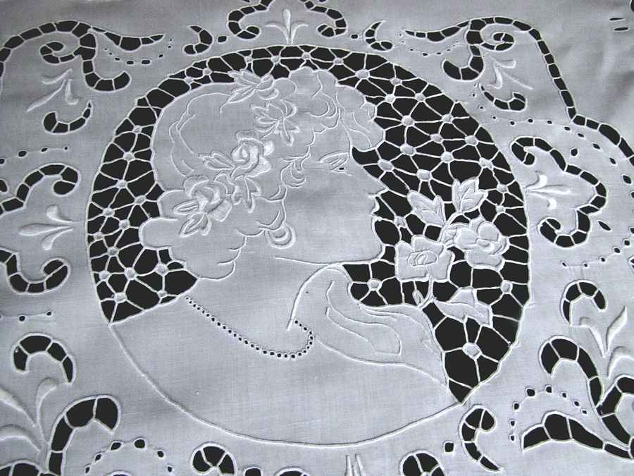 close up vintage antique pillow cover handmade figural lace