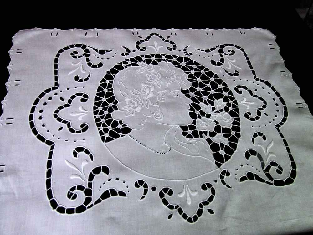 close up 2 vintage antique pillow cover handmade figural lace