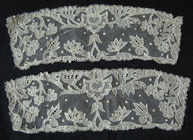 antique victorian pair carrickmacross lace cuffs