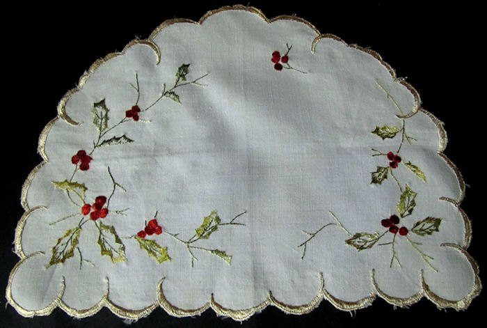 vintage half round linen doily with society silk embroidery