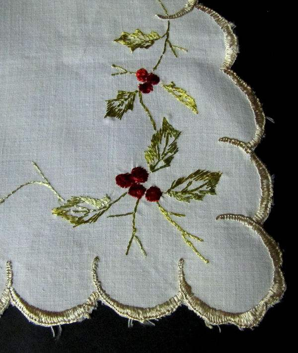 close up 2 vintage half round linen doily with society silk embroidery