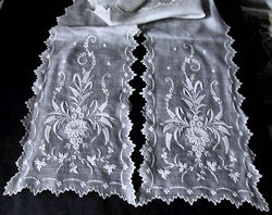 vintage antique victorian lappet with handmade whitework