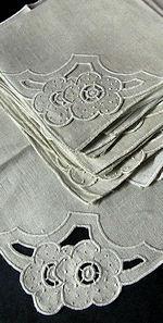 12 vintage linen napkins cutwork lace