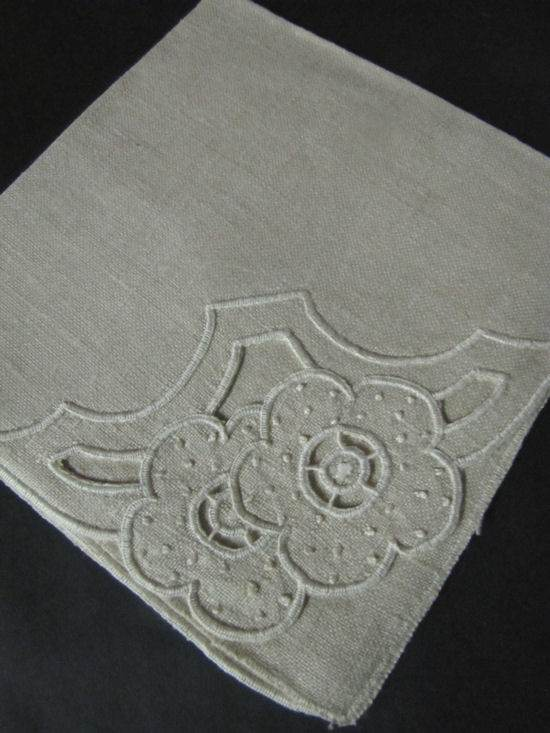 close up vintage linen napkins with handmade cutwork lace