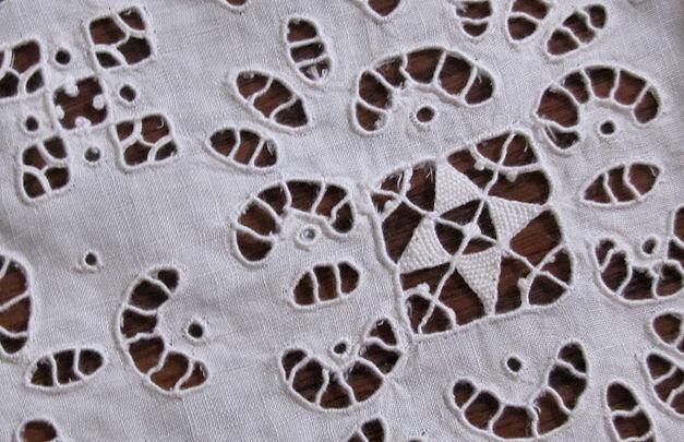 vintage antique linen tablecloth close-up cutwork lace